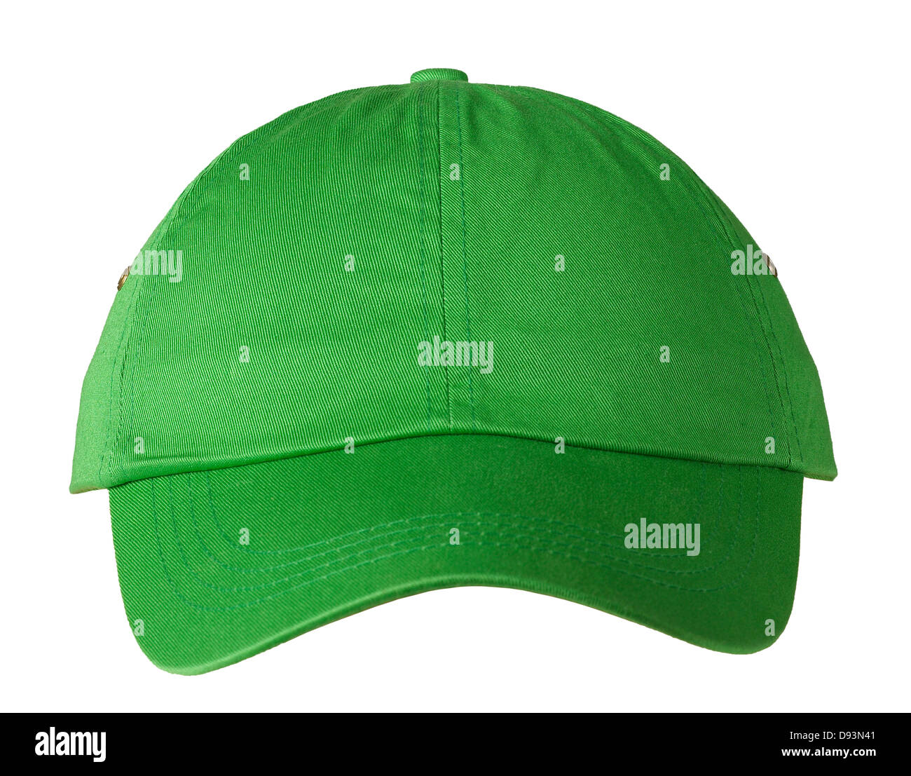 Green Baseball cap on white background - Stock Image