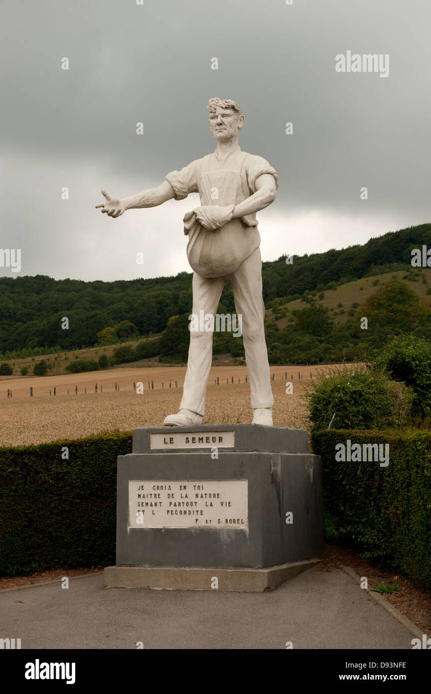 The Sower Sowing Fertility and Life Clerques France Europe - Stock Image