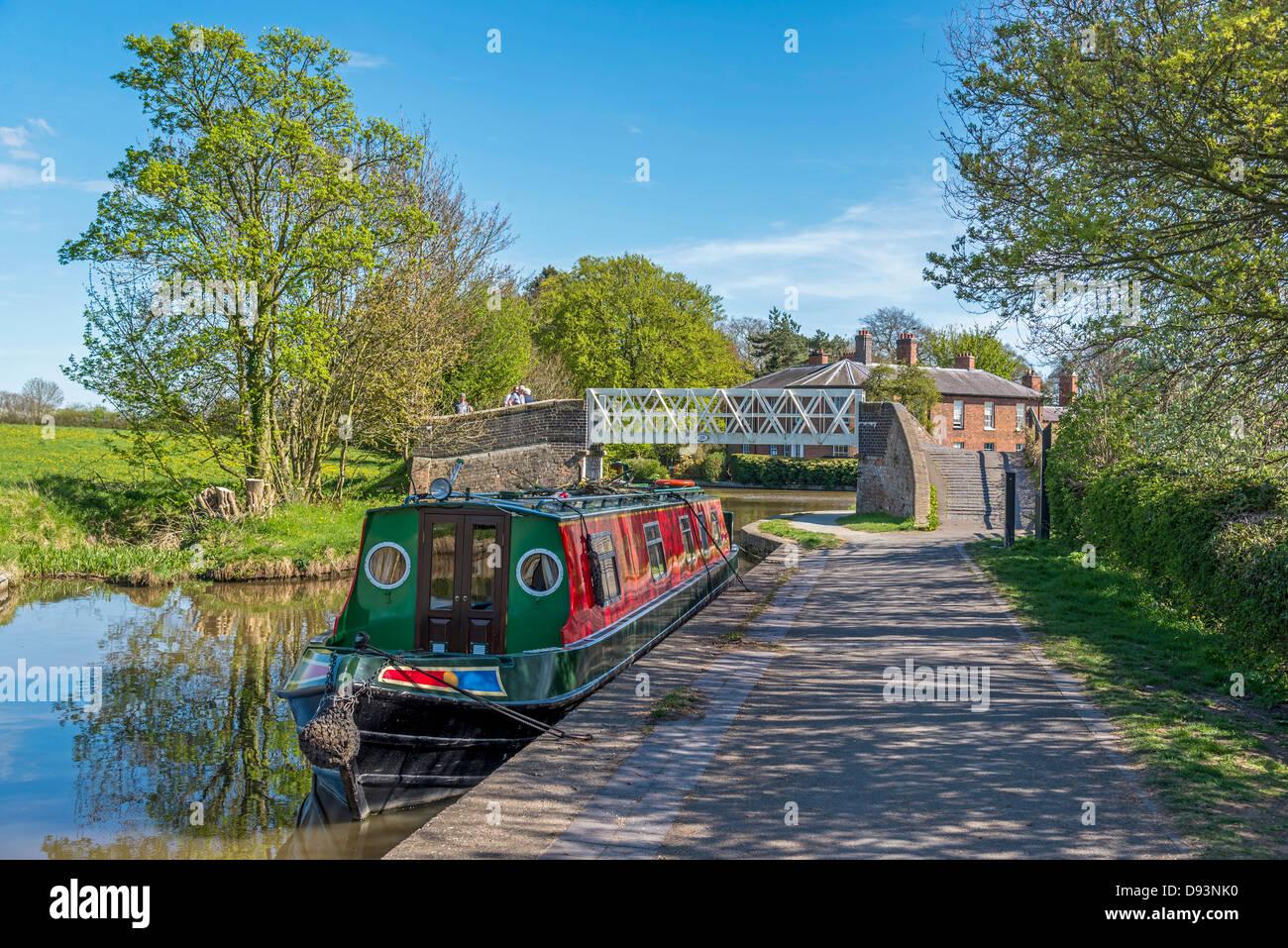 Shropshire Union Canal at Ellesmere Wharf . Ellesmere Shropshire England United KIngdom. - Stock Image