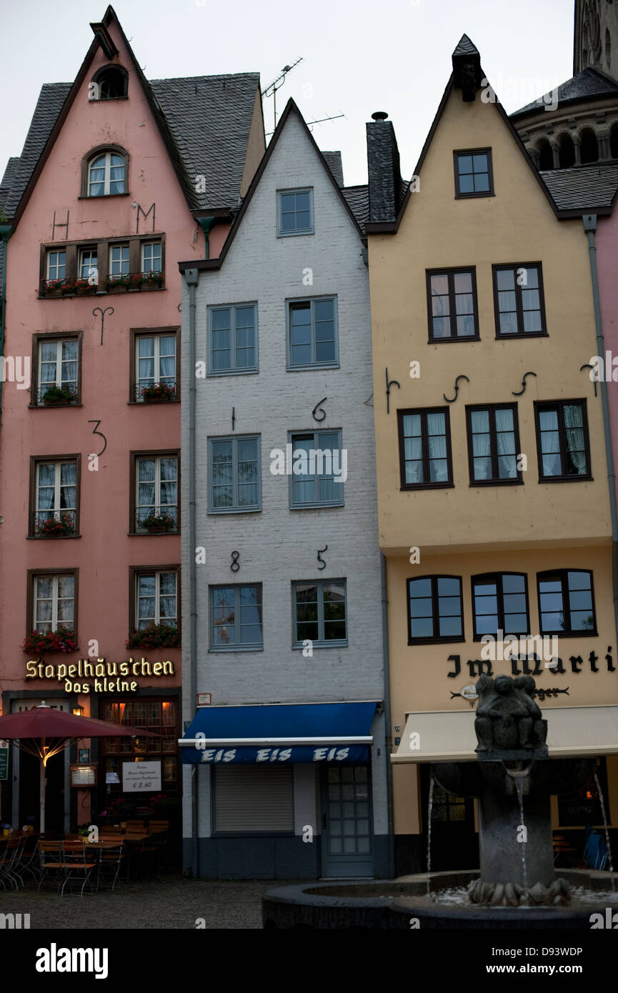Very Narrow Tall Houses Cologne Koln Germany Deutschland Europe EU - Stock Image