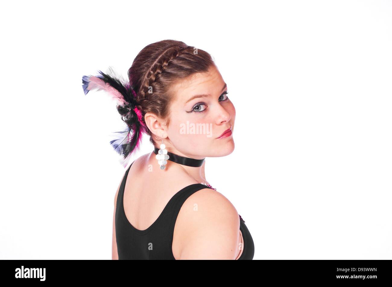 8e77c94cd Teen girl in dance costume against white background Stock Photo ...