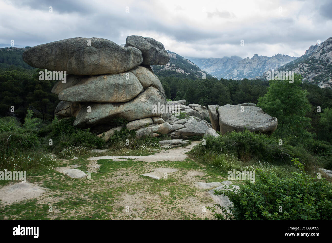 Landscape of Regional Park of Manzanares in Madrid. Rocks and pradesh are the main geological characteristics Stock Photo