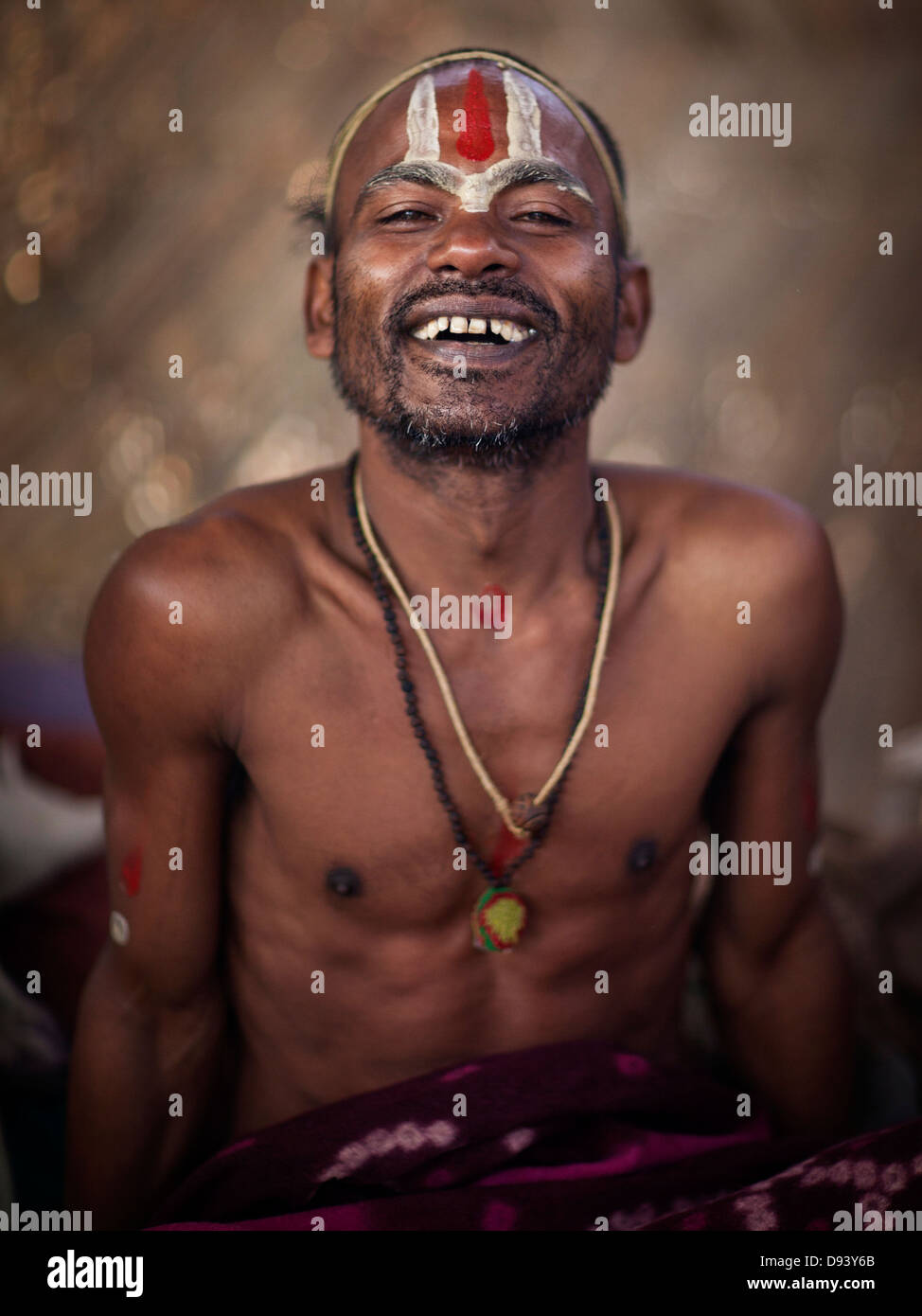 Portrait of a holy man at the Kumbh Mela 2013 in Allahabad, India Stock Photo