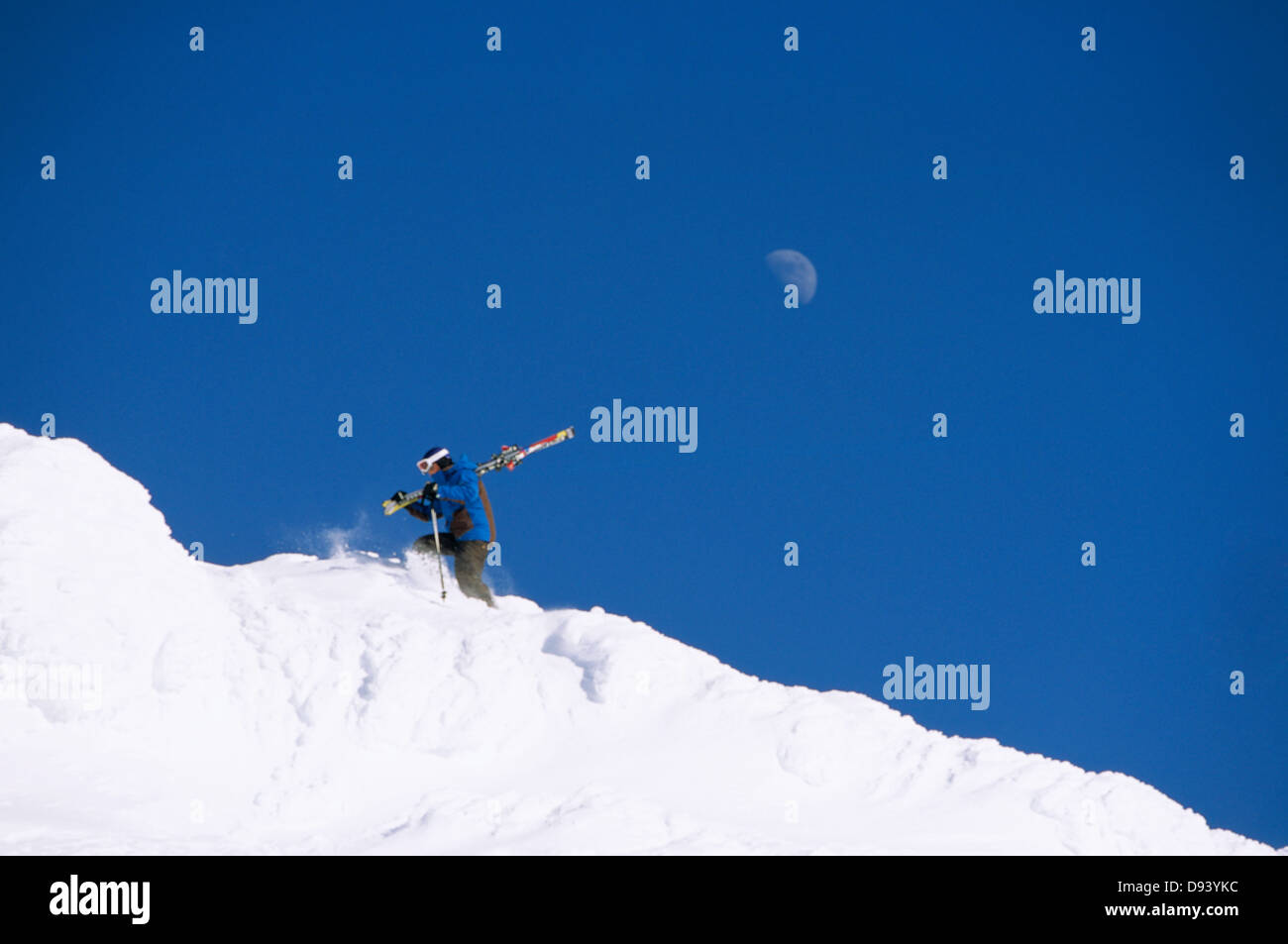 A man walking with skis, Are, Sweden. - Stock Image