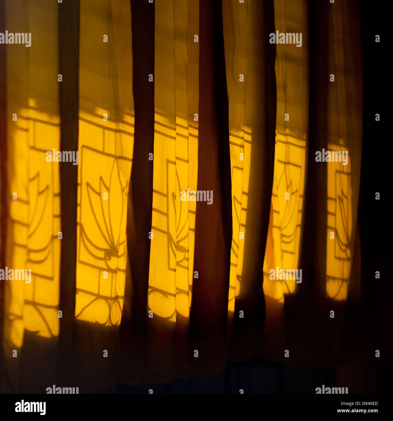 Curtains In Front Of A Window, Savannakhet, Laos - Stock Image