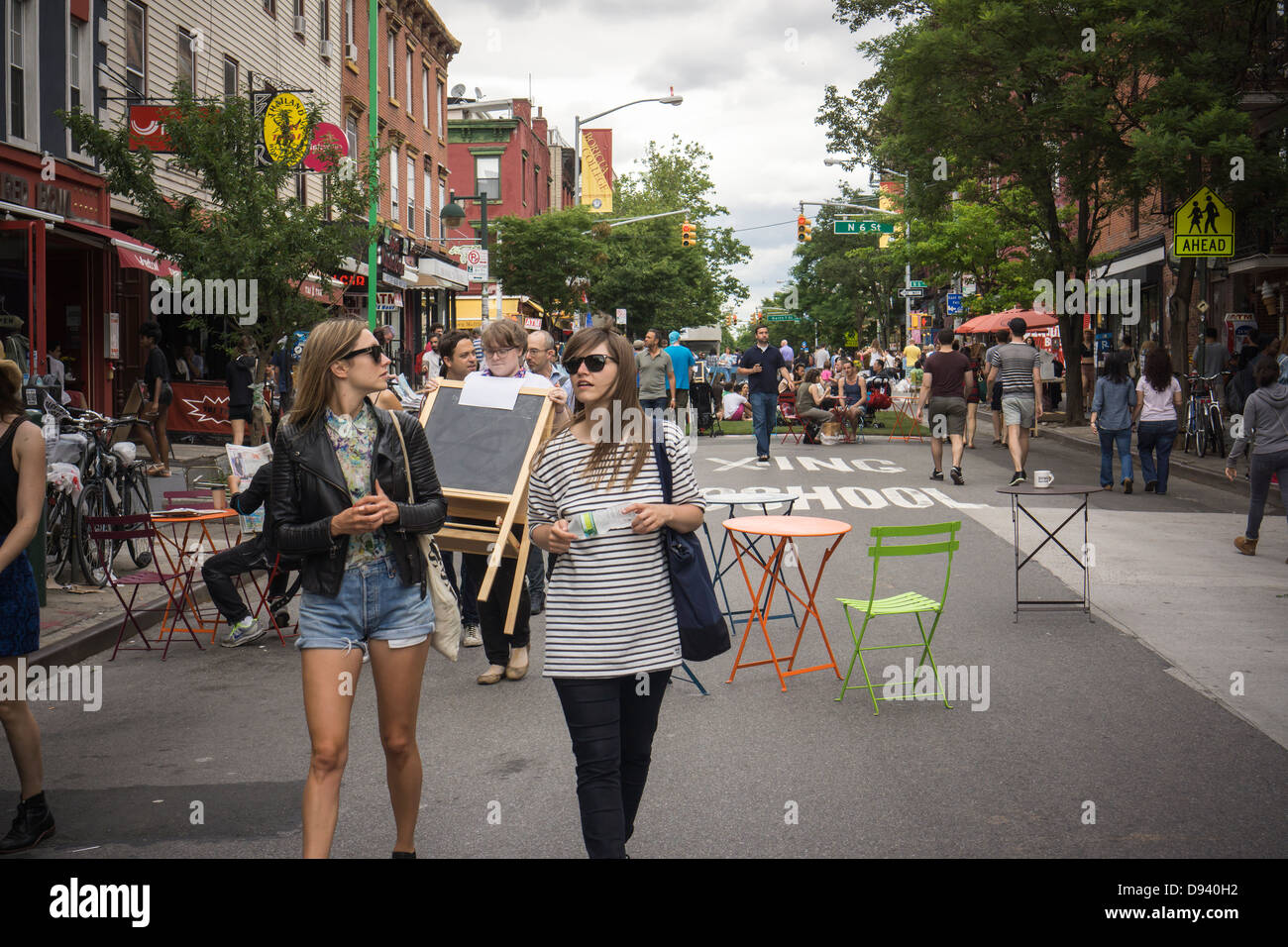 Bedford Avenue is closed to traffic in the trendy hipster Stock