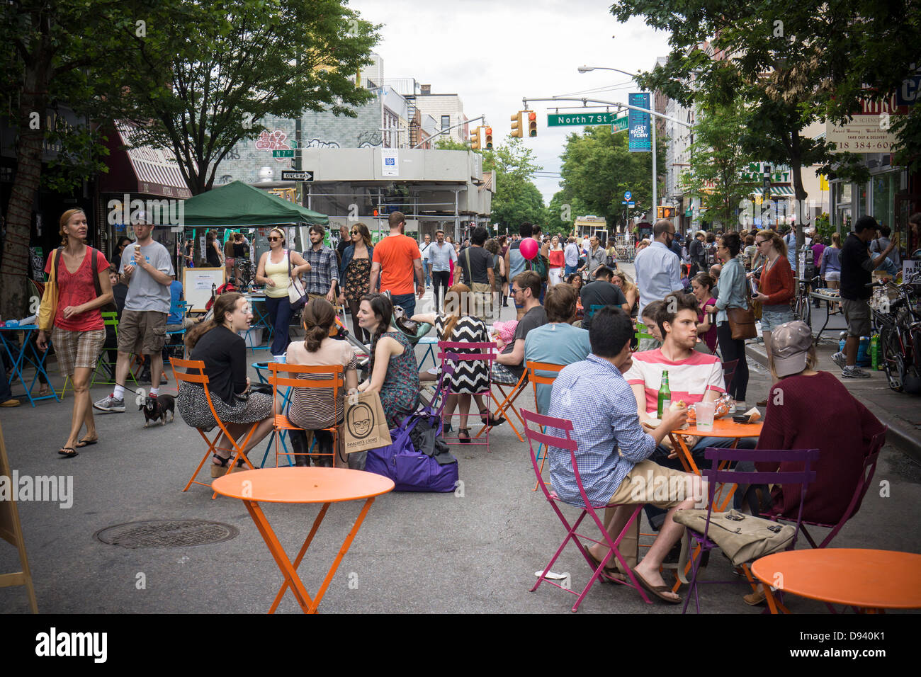 Bedford Avenue is closed in the trendy hipster Williamsburg