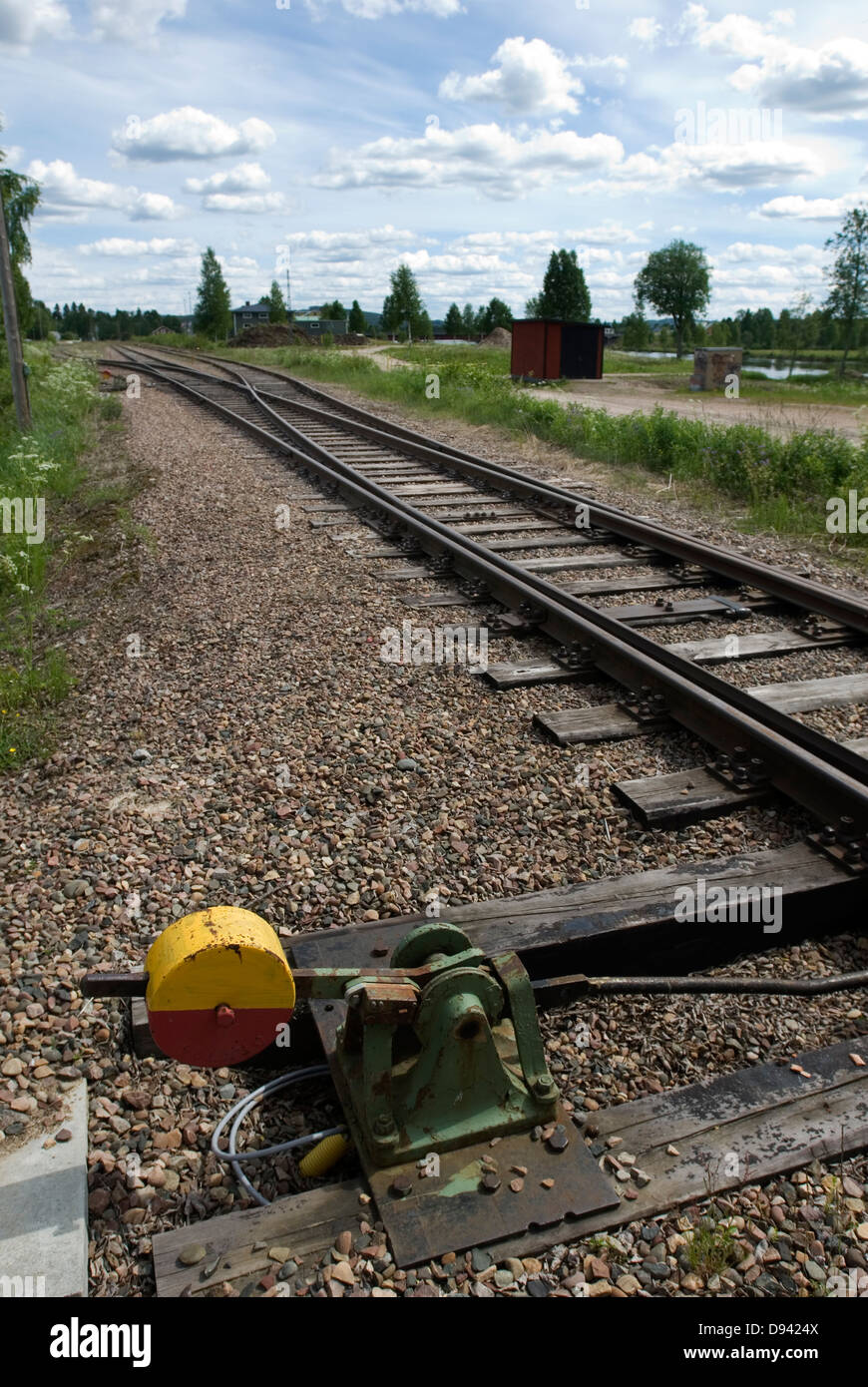 Switch on railroad track - Stock Image