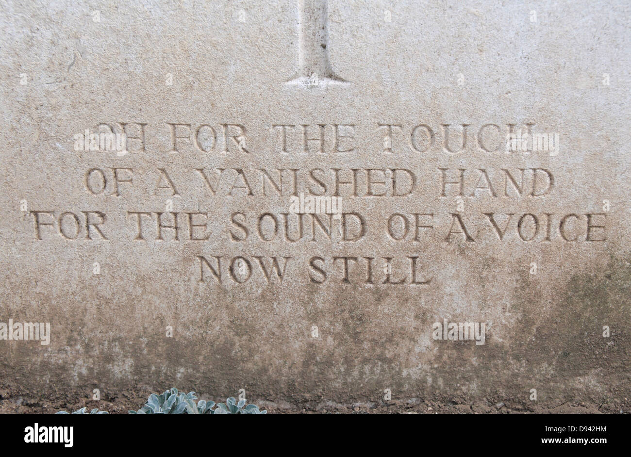 Touching poetic personal message on a grave in the Adelaide Cemetery, Somme, Picardy, France. - Stock Image