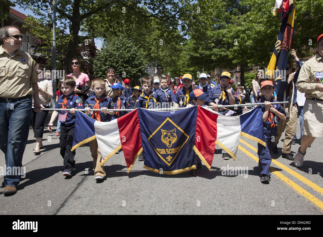 Cub Scout Pack in the Memorial Day Parade in Bay Ridge