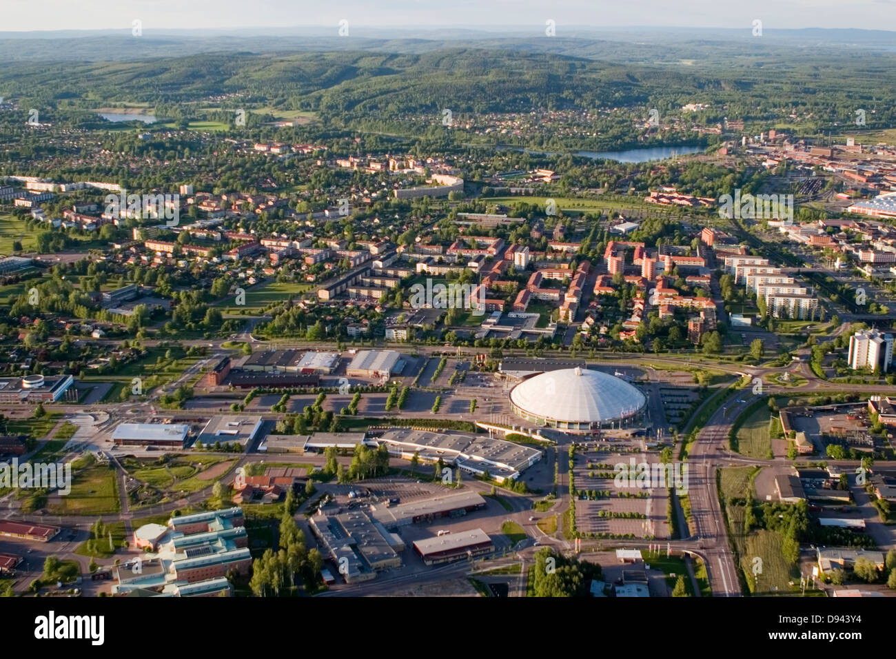 Aerial view of a city, Borlange, Sweden. - Stock Image
