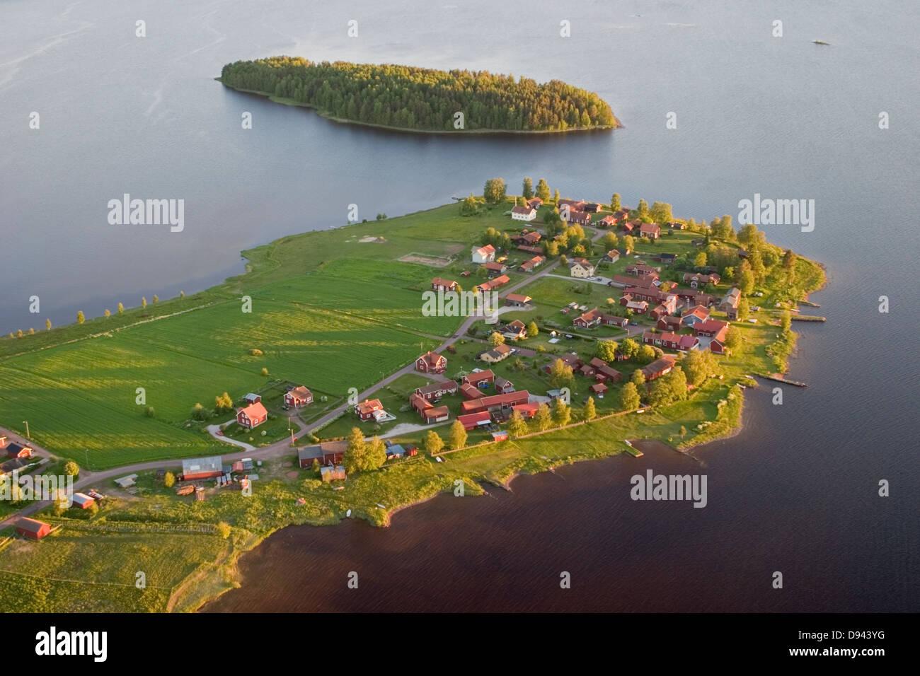 Islands in a lake, aerial view, Dalarna, Sweden. - Stock Image