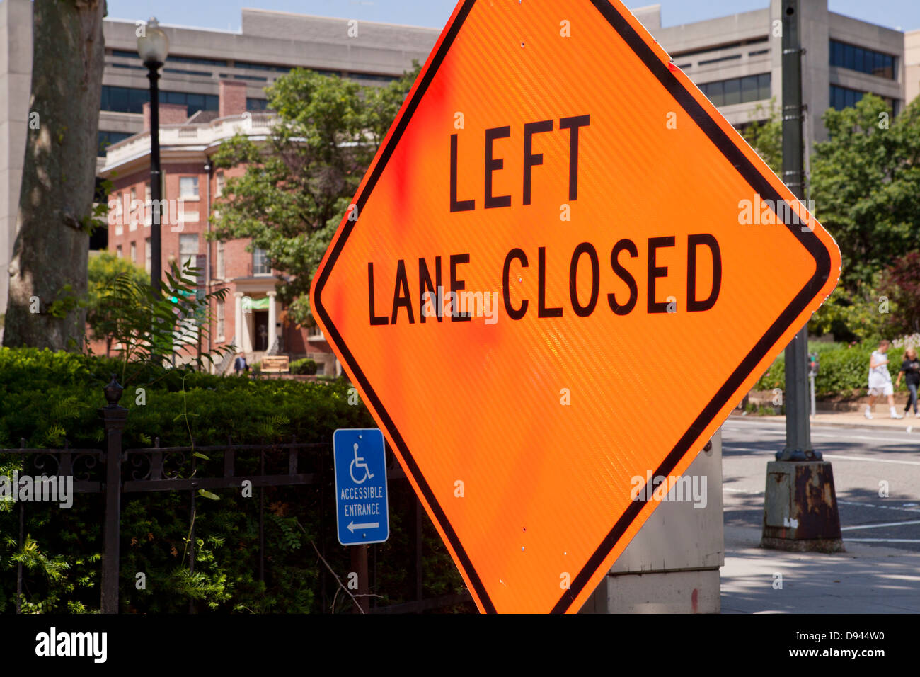 Left Lane Closed road sign - Stock Image