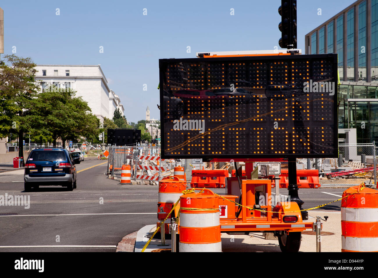 Caution roadwork sign - USA - Stock Image