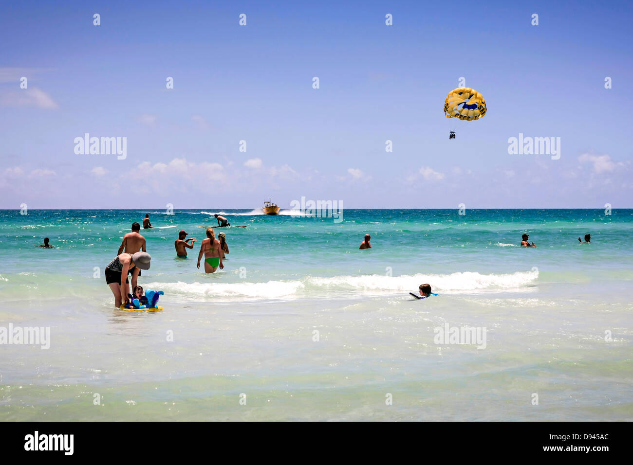 People having fun in the waters of the Gulf of Mexico at Siesta Key FL Stock Photo
