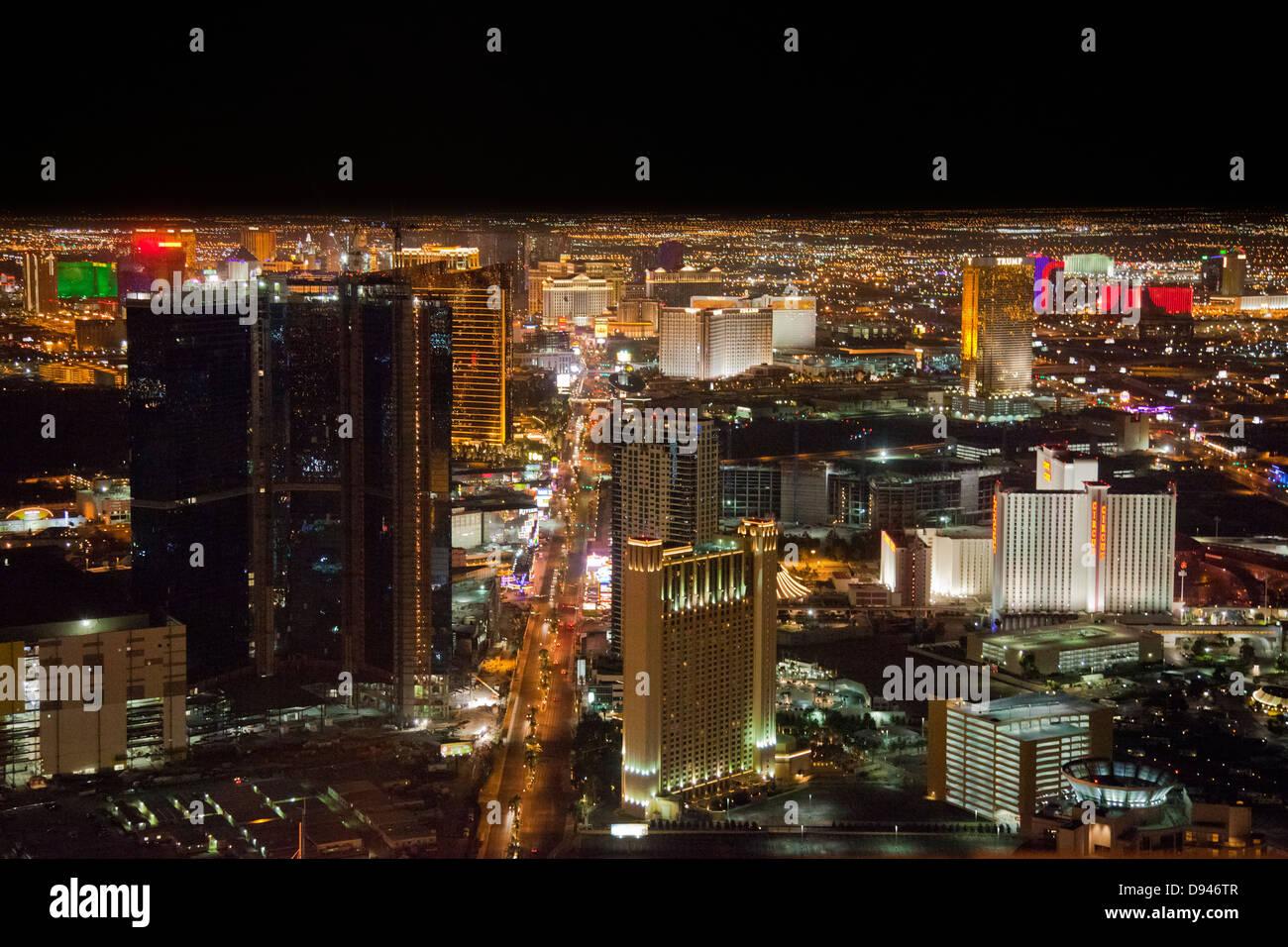 High angle view of Las Vegas illuminate at night - Stock Image