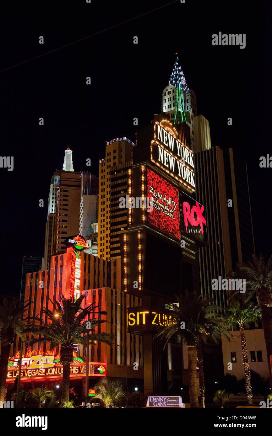 Low angle view of Las Vegas buildings illuminate at night - Stock Image