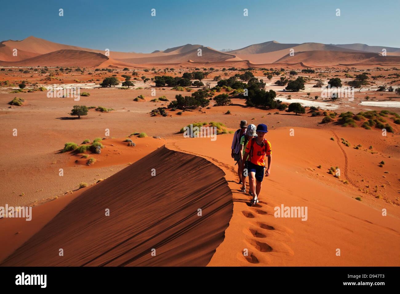 Family climbing sand dune at Sossusvlei, Namib-Naukluft National Park, Namibia, Africa - Stock Image