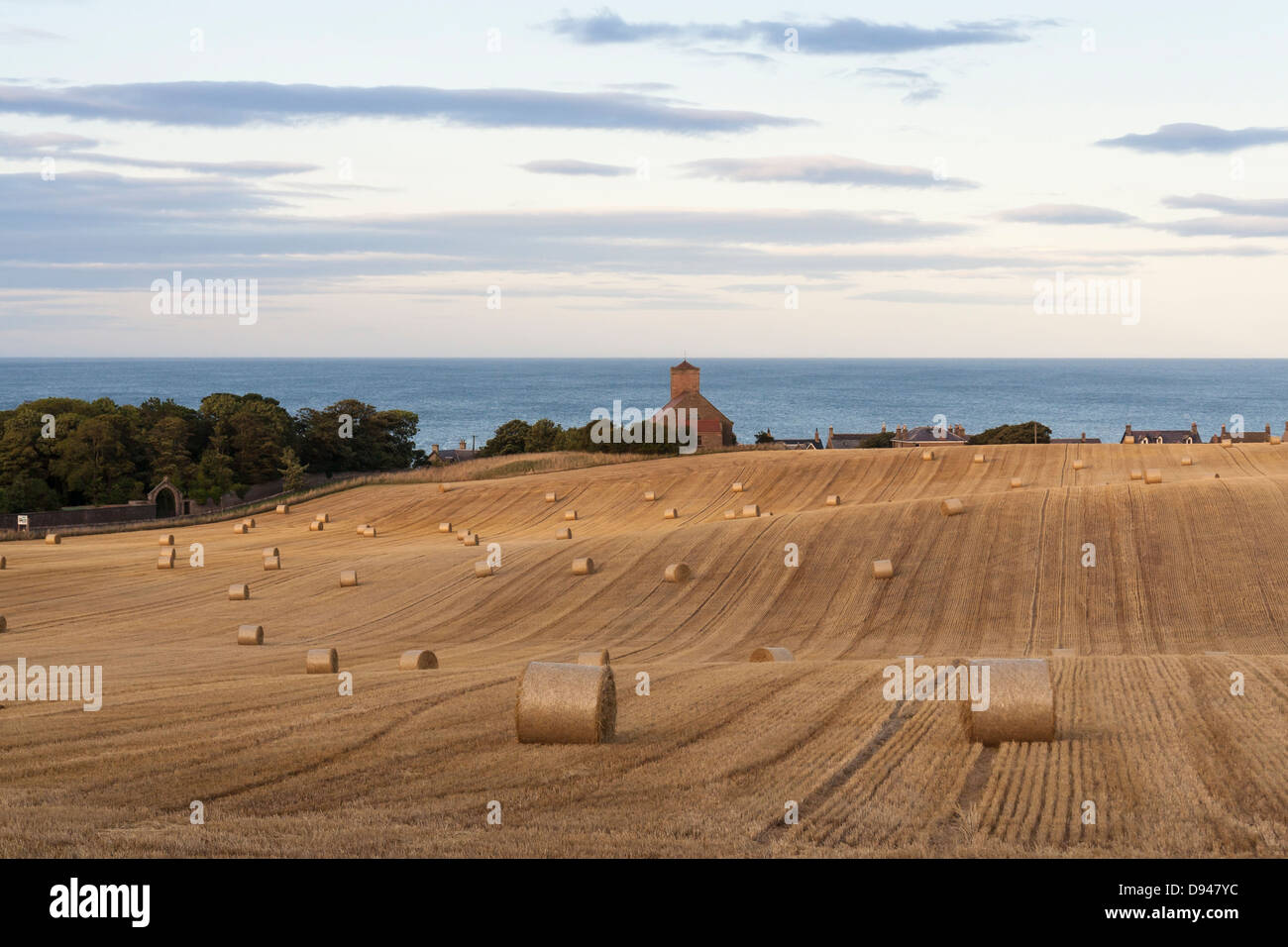 Hay bails in a farmers field overlooking the beautiful Northumberland coastline with the sea and a church in the - Stock Image