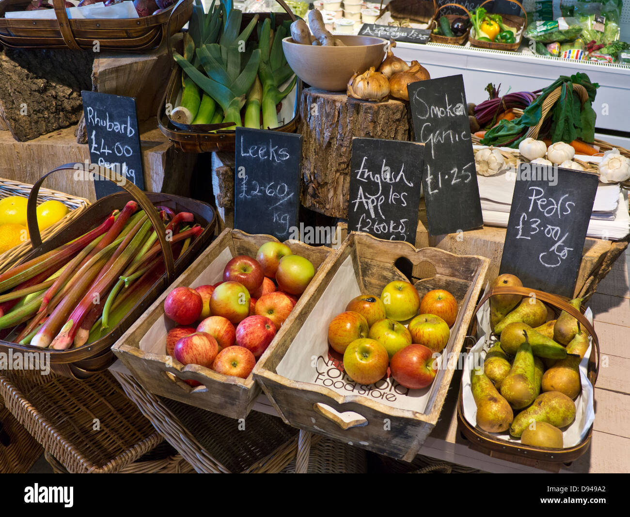Traditional rural produce farm shop interior with fresh local fruit and vegetables on sale Cotswolds UK - Stock Image