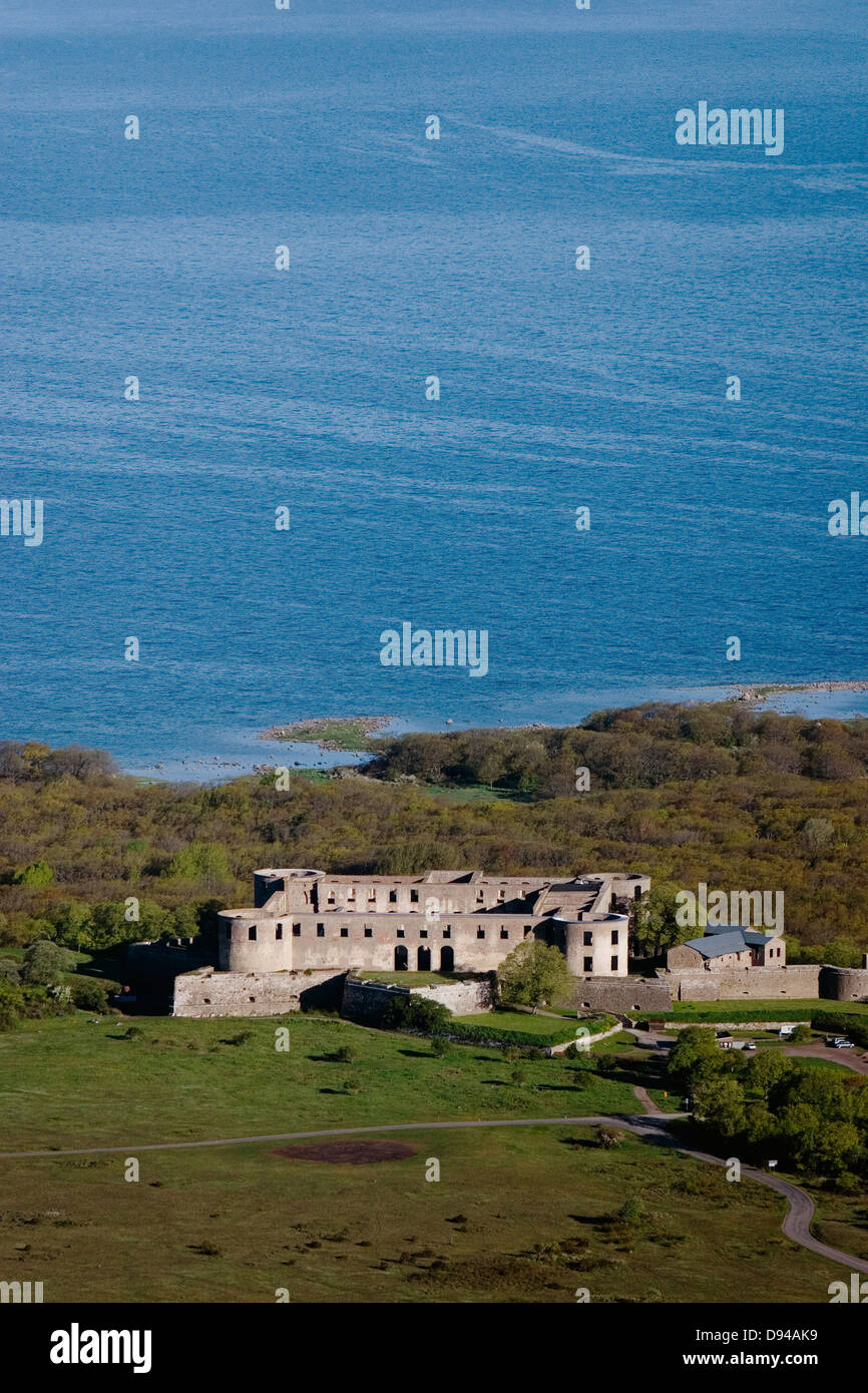 A ruined castle by the sea, Oland, Sweden. - Stock Image