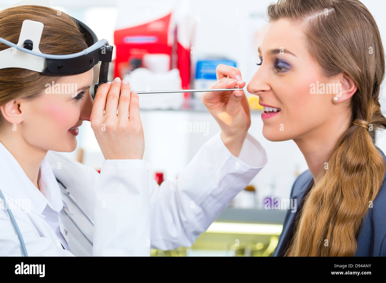 Doctor Young Female Consultant Or Ent Specialist With A Patient Stock Photo Alamy
