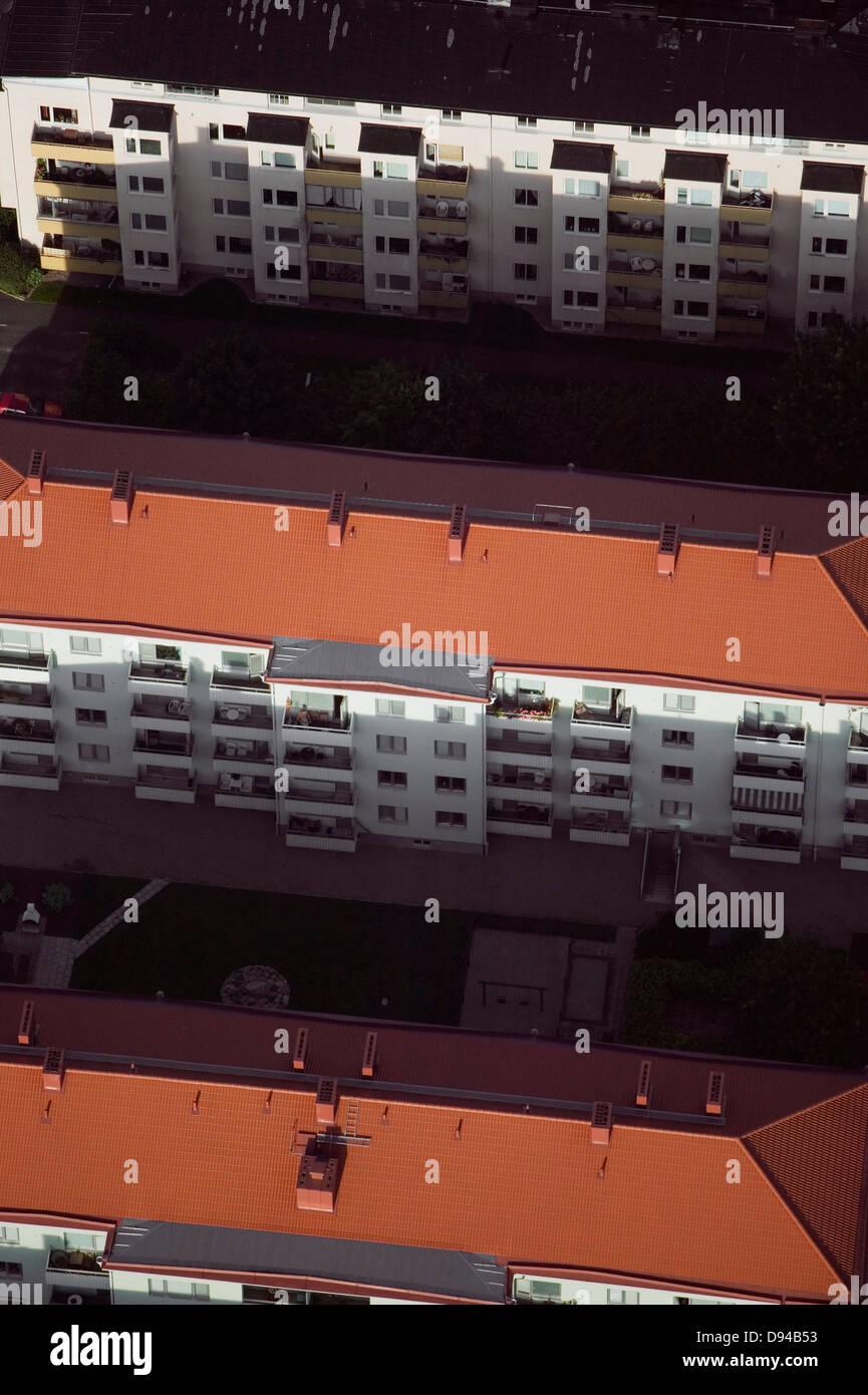 Aerial view of multistorey buildings in Kristianstad, Sweden. - Stock Image