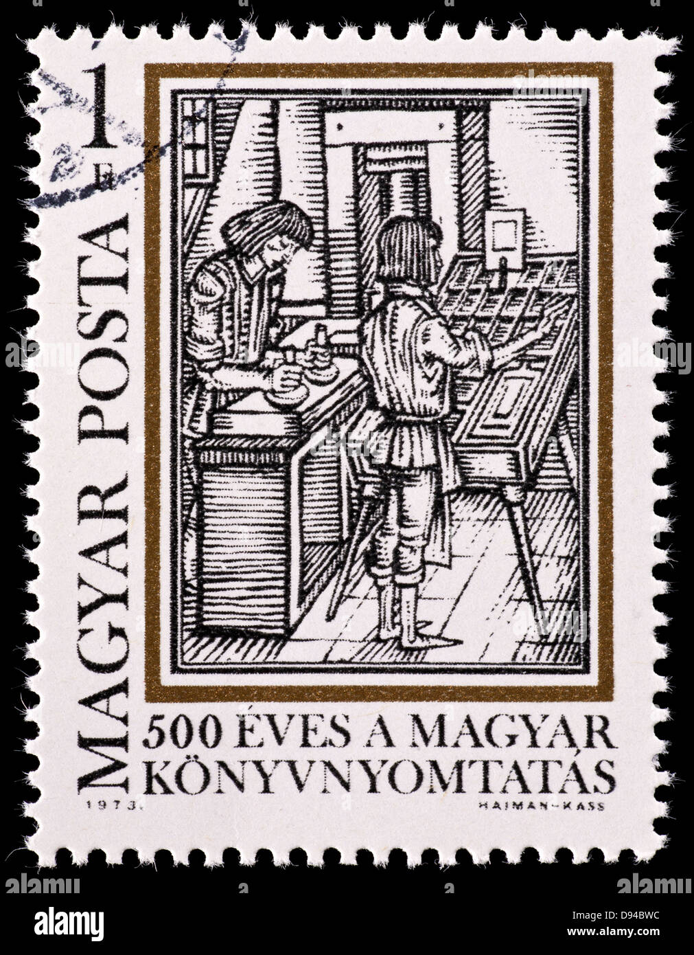 Postage stamp from Hungary depicting typesetting, from 'Orbis Pictus' by Comenius. for the 500'th anniversary - Stock Image