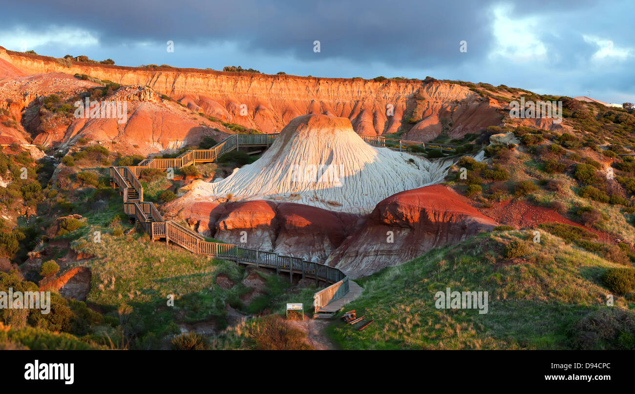 erosion landforms stairway cliff clay landscape erosional walking trail hiking path Hallett Cove South Australia - Stock Image