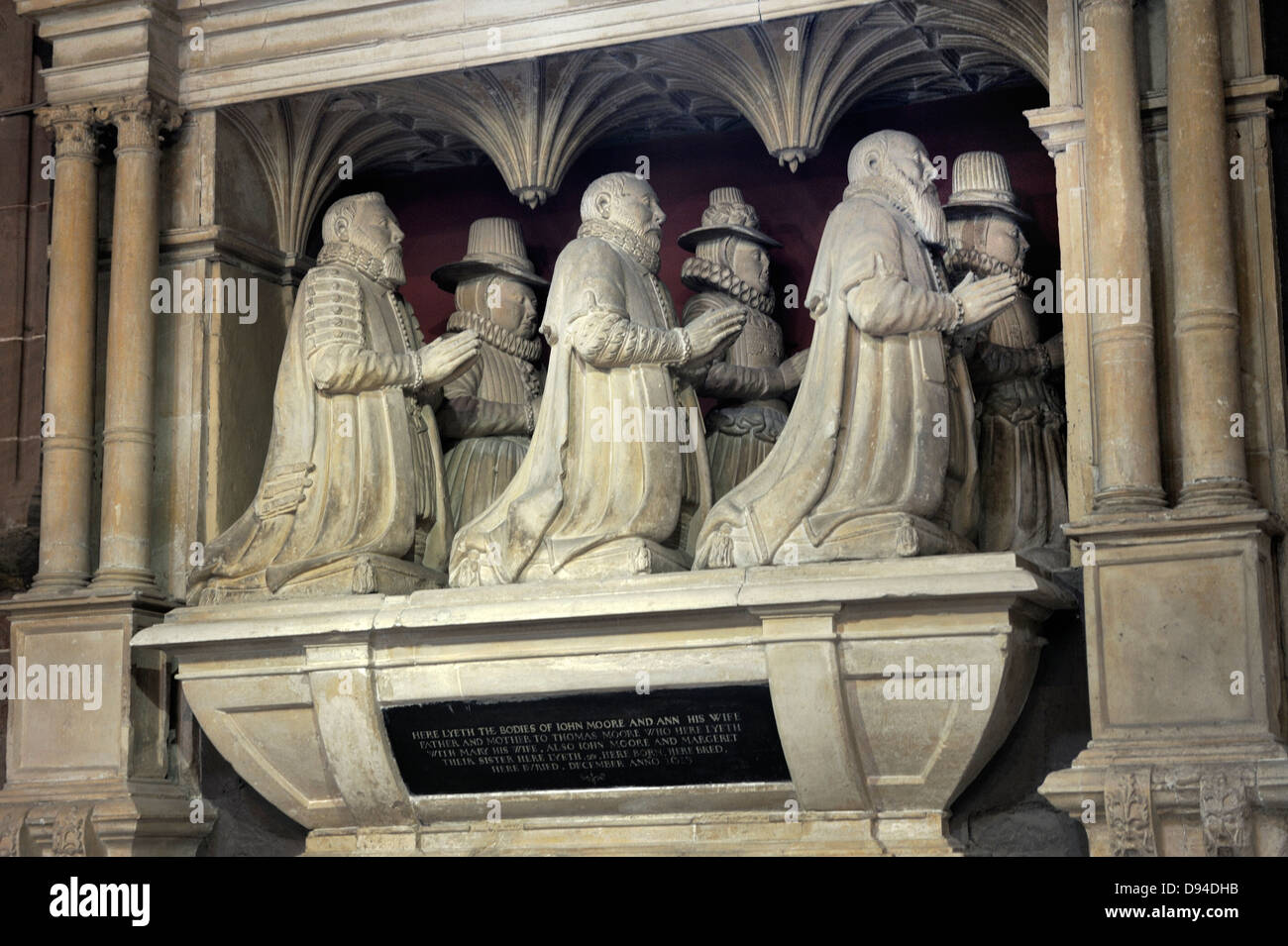 Worcester Cathedral, England. The Moore Monument, Elizabethan period stone memorial to merchant clothier John Moore - Stock Image