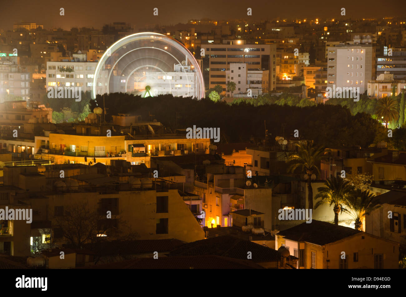 a view of nicosia, cyprus at night - Stock Image