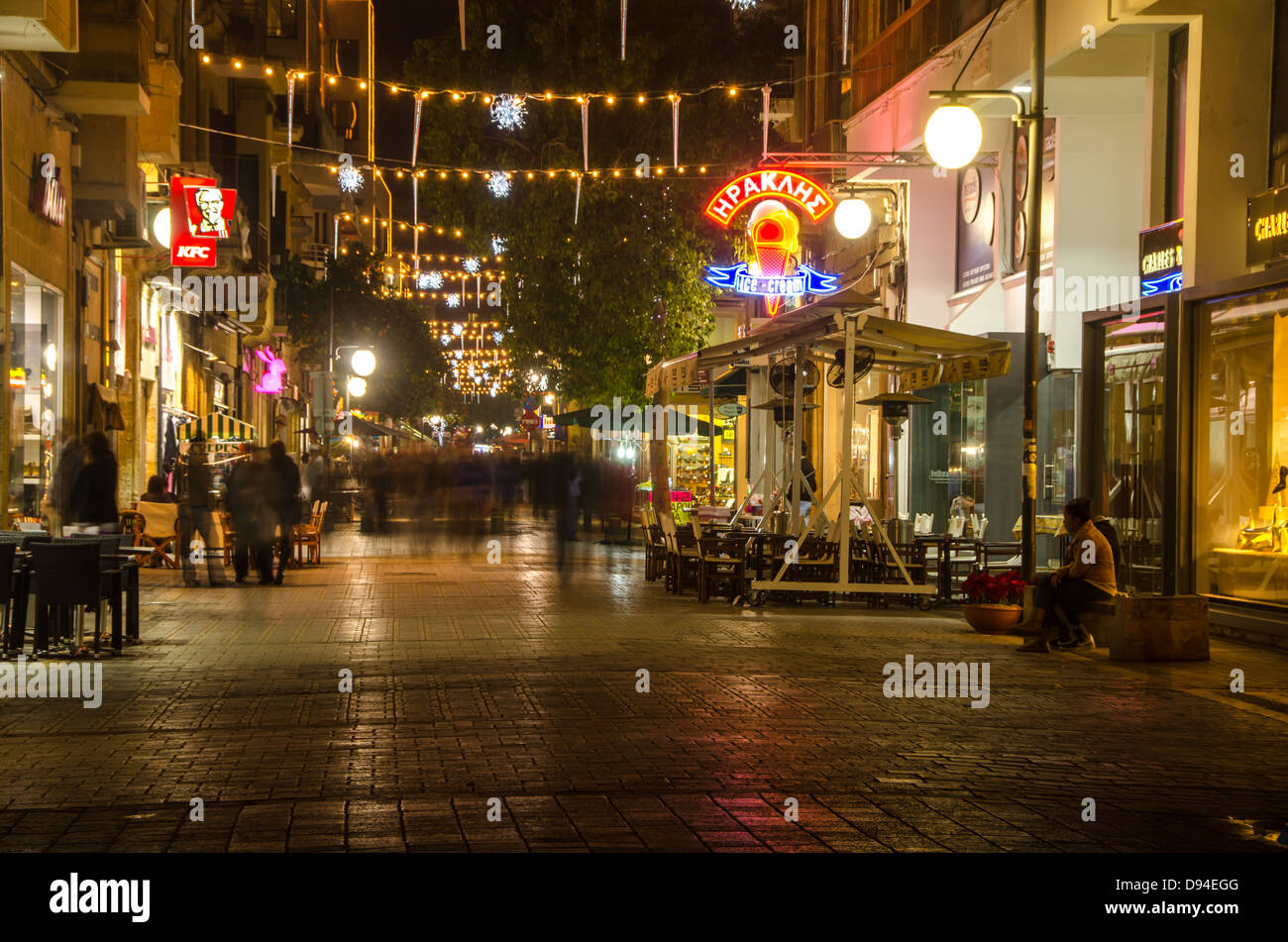 view of the lidras (ledra) street in nicosia, cyprus at night - Stock Image