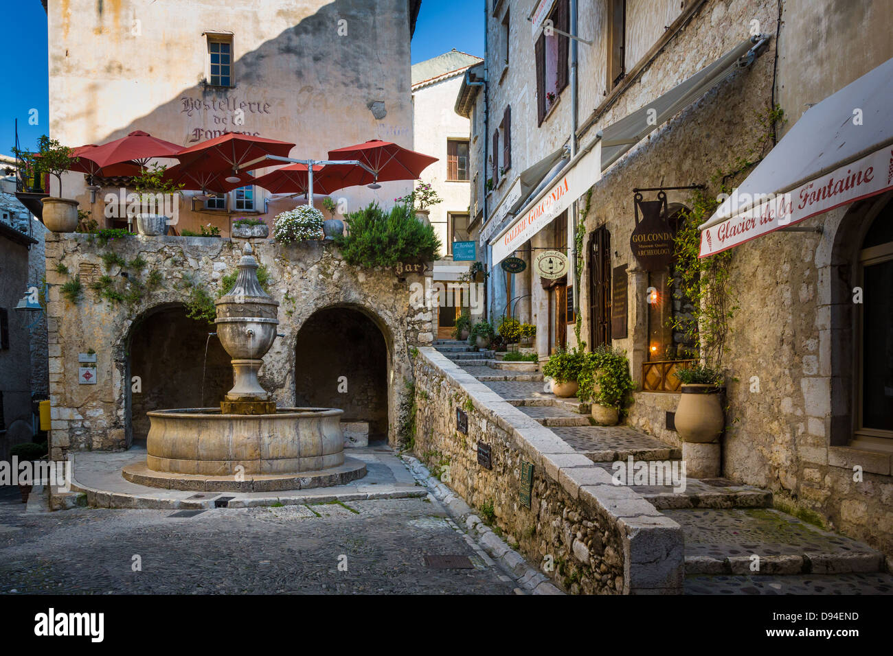 Town square on Rue Grand in Saint-Paul-de-Vence - Stock Image