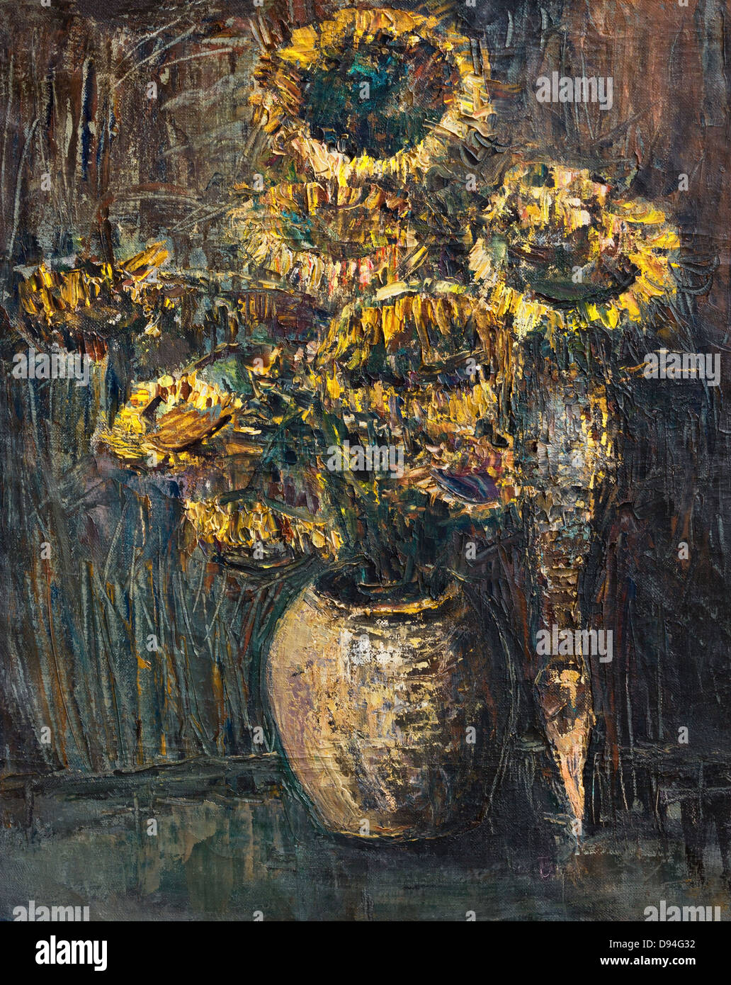 An oil painting on canvas of withered colorful sunflowers bouquet over a dark gray brown background. - Stock Image