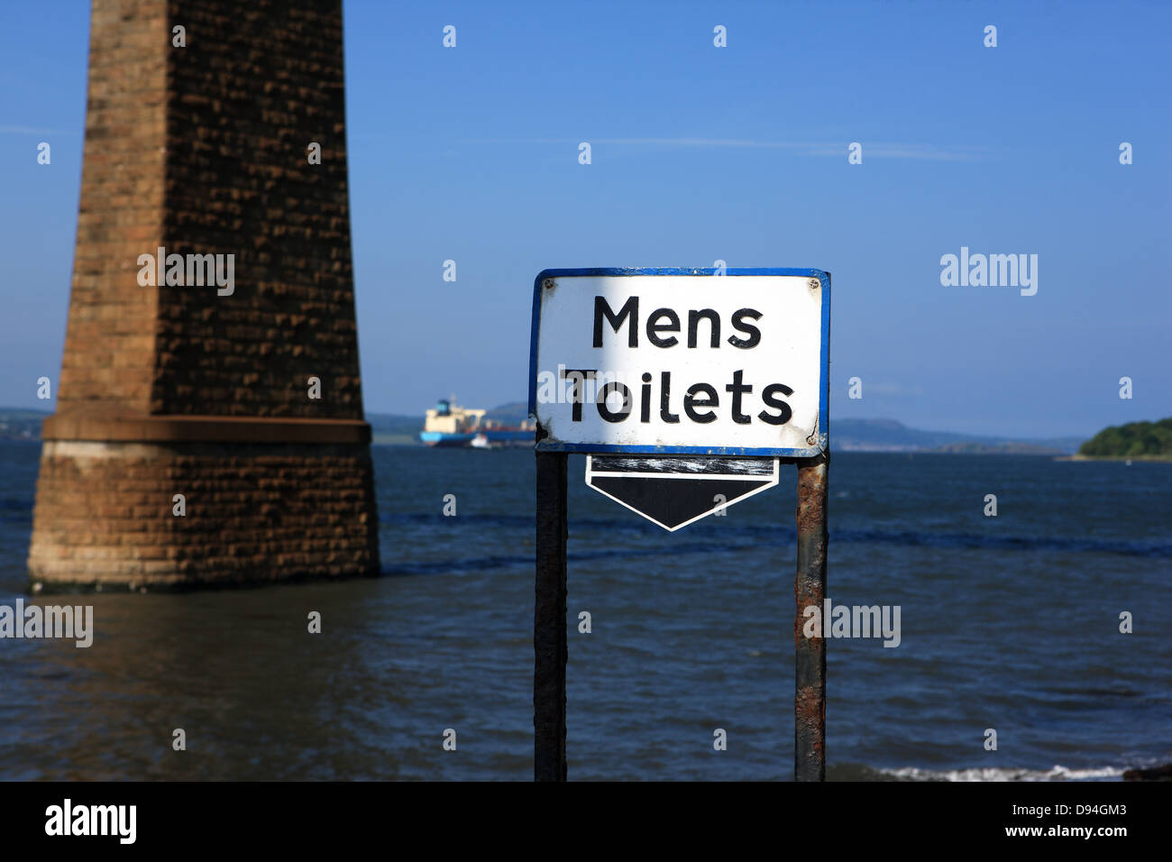 Interesting sign for Mens toilets which appears to indicate it's the sea - there is, however,  a toilet block - Stock Image