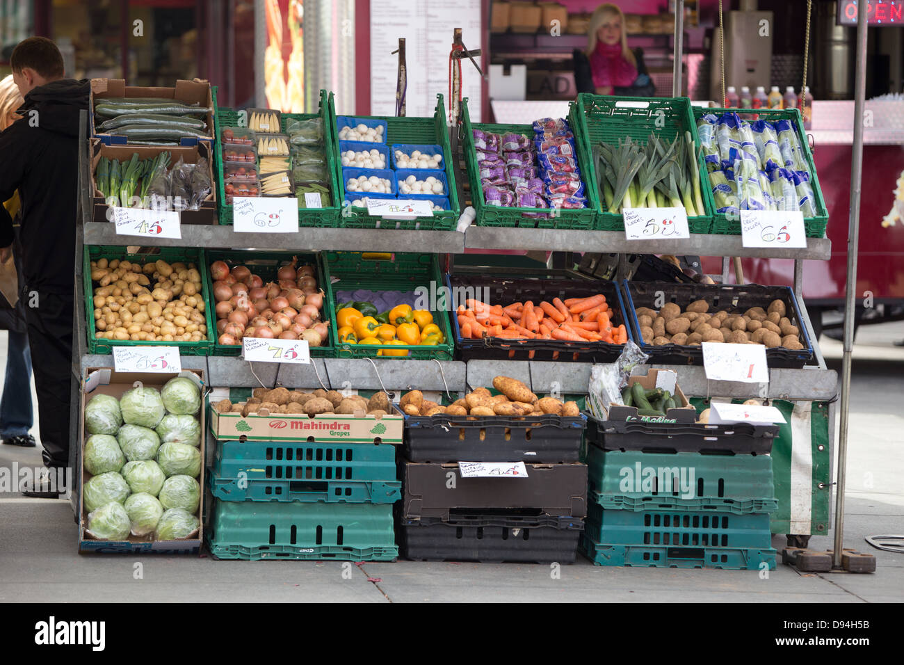 Vegetables on a market stall in Liverpool City Centre - Stock Image