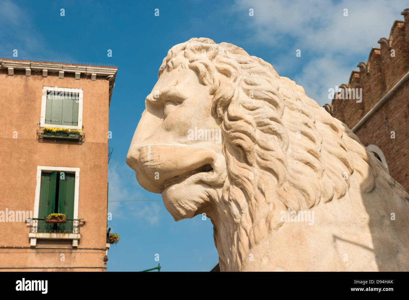 Lion at the Venetian Arsenal, Venice, Italy - Stock Image