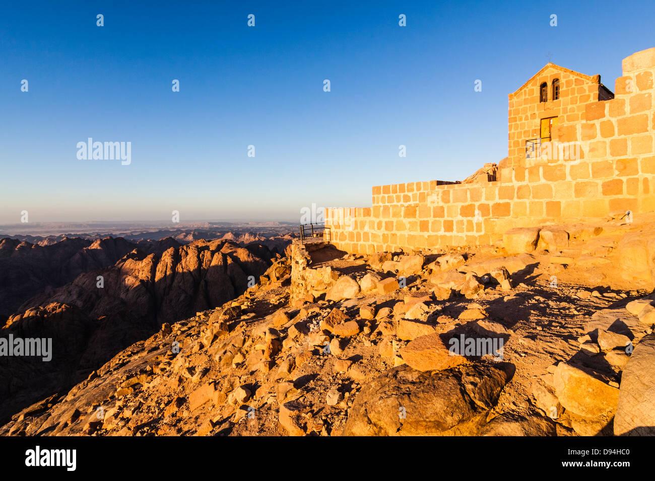 Mount Sinai church horizon sunset landscape - Stock Image