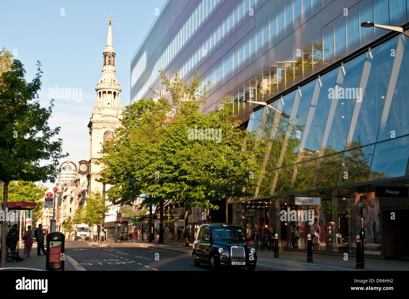 One New Change shopping centre on Cheapside and St Mary le Bow Church, London, UK - Stock Image