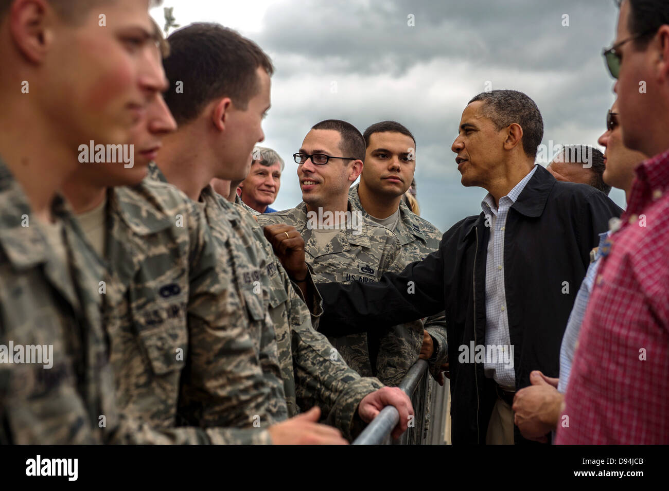 US President Barack Obama greets airmen and family members May 26, 2013 at Tinker Air Force Base, OK. The President - Stock Image
