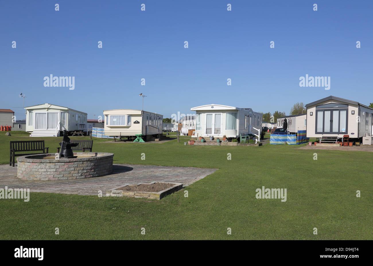 caravans at hopton on sea holiday park on the suffolk coast - Stock Image