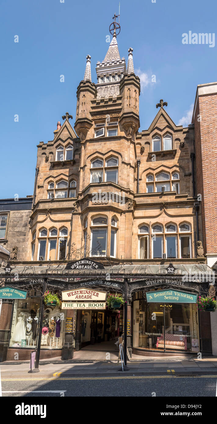 Harrogate in North Yorkshire formerly the West Riding of Yorkshire. The Westminster Arcade. - Stock Image