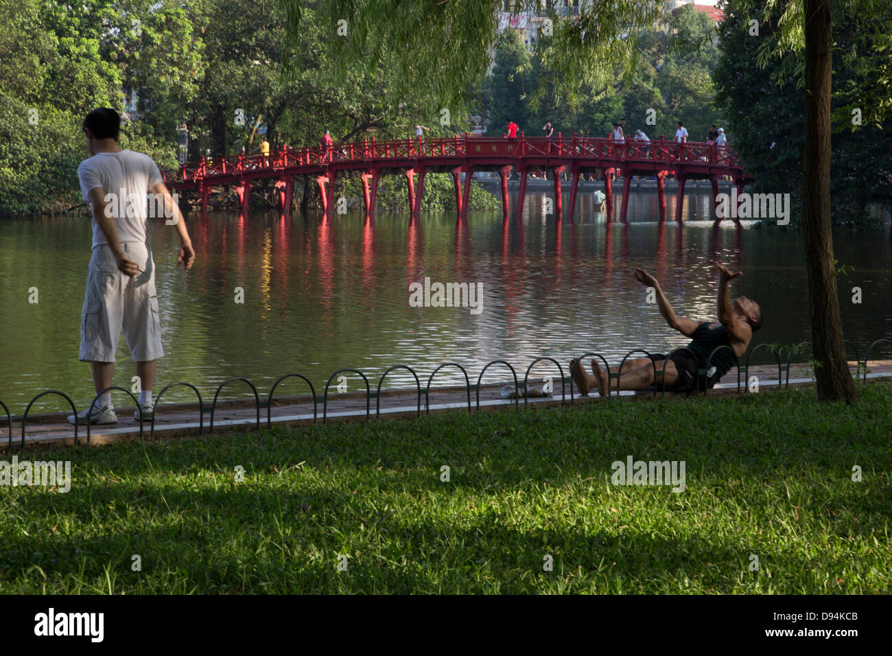 Hoan Kiem Lake or 'Lake of the Returned Sword' is a lake in Hanoi. The lake serves as a focal point for - Stock Image