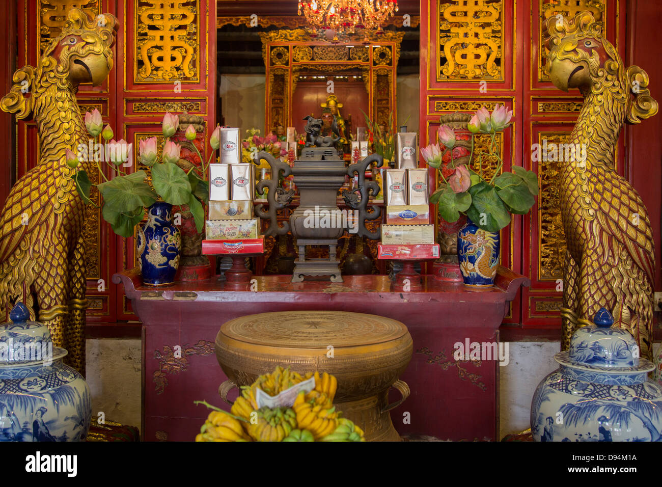 Surrounded by water and shaded by trees, Temple of the Jade Mountain or Ngoc Son Temple is an oasis in central Hanoi. - Stock Image