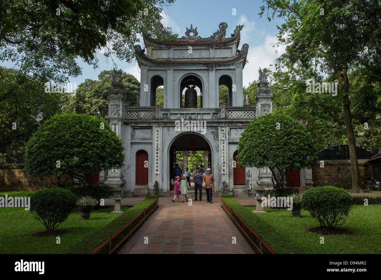 The Temple of Literature is Confucian temple which was formerly a center of learning in Hanoi. Stock Photo