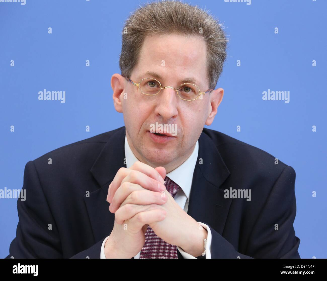 President of the Federal Office for the Protection of the Constitution, Hans-Georg Maassen, gives a press conference - Stock Image