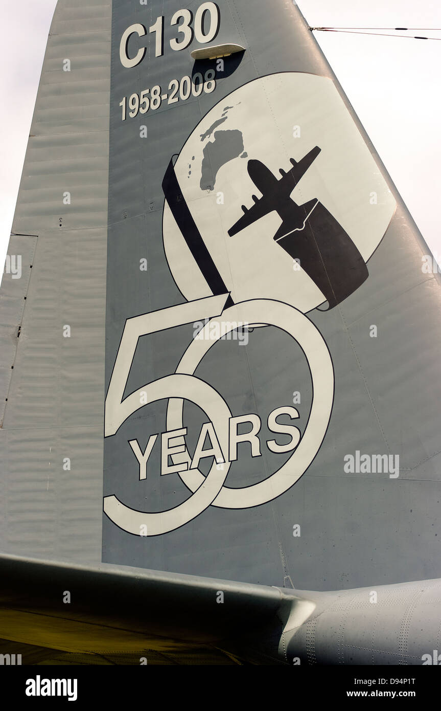 Tailplane of a Royal Australian Air Force C-130 Hercules, painted to celebrate 50 years of service. - Stock Image