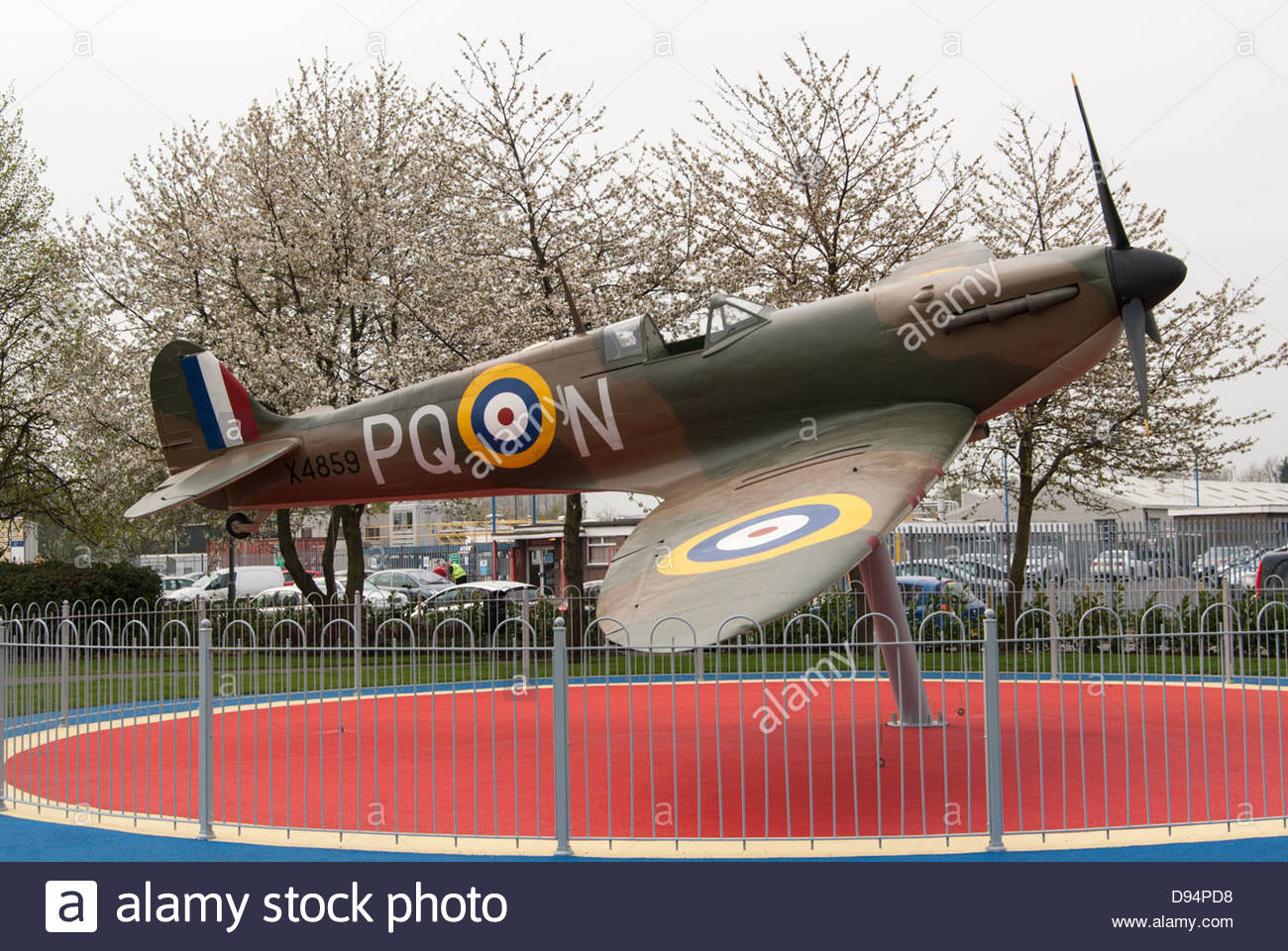 Replica of Spitfire PQ-N built as a Memorial to the Fallen of RAF Grangemouth  WW2. - Stock Image