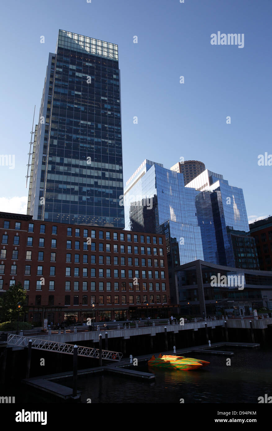 Boston Massachusetts waterfront buildings, Fort Point Chanel, the InterContinental Hotel, right, - Stock Image