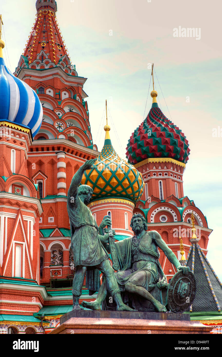 Famous St. Basil's Cathedral in Red Square, Moscow, Russia. - Stock Image